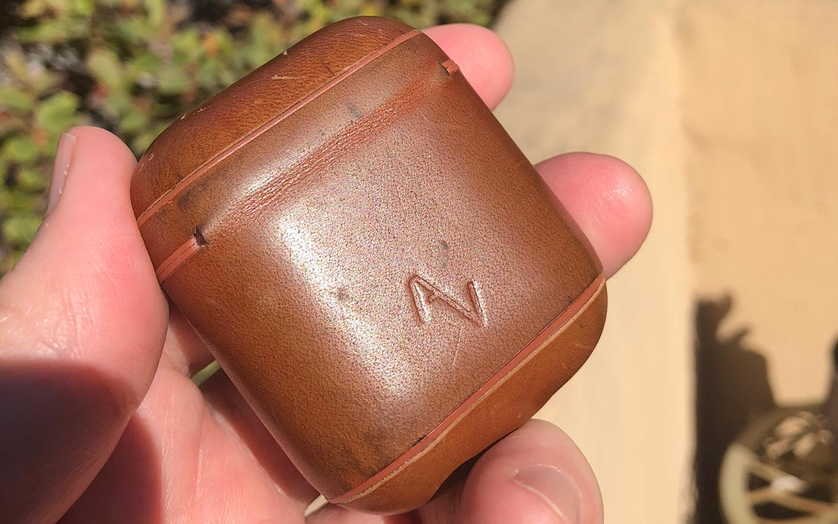 My AirPod leather case after several months of use