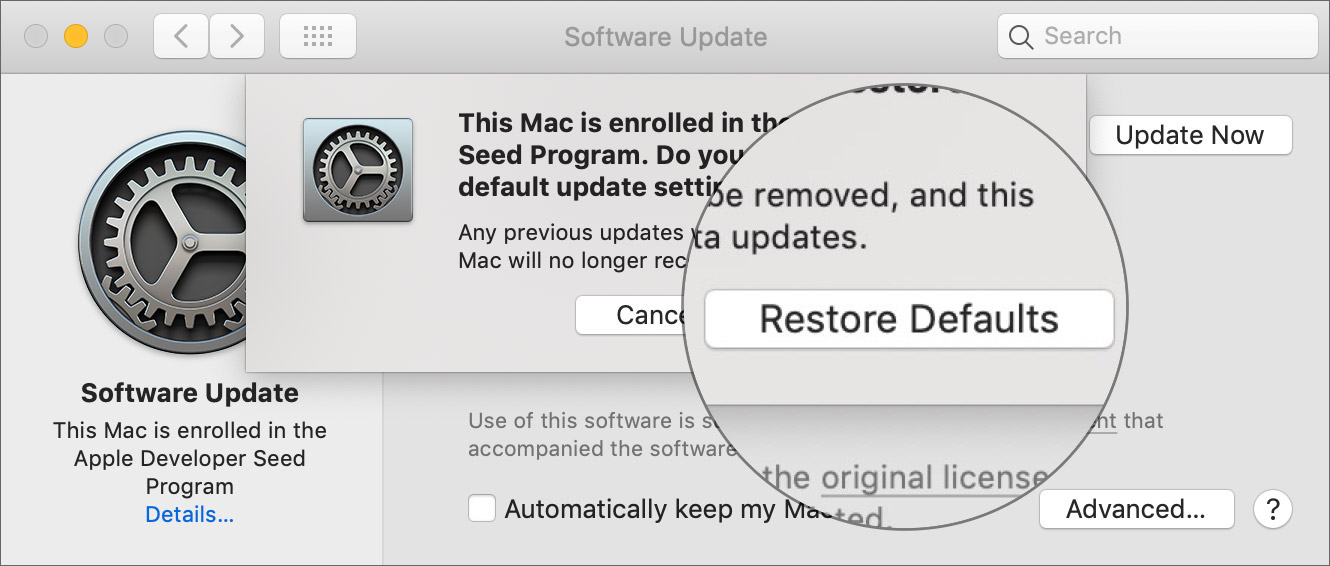 Click Restore Defaults to Join the Apple Developer Starter Program
