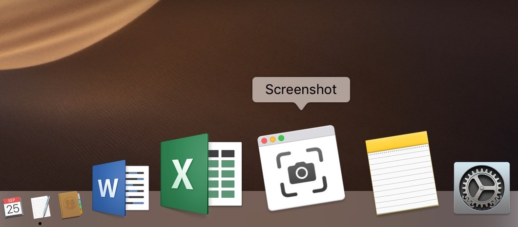 Screenshot app in Dock in macOS Mojave