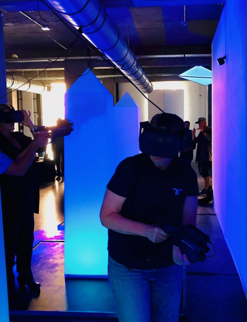 VR laser tag was more fun (and more beautiful) than a real laser tag; I wish you could see what we saw in the headsets!