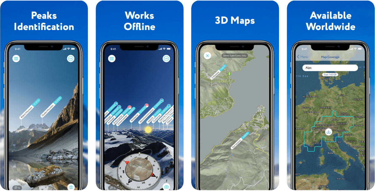 Screen images from PeakVisor in our round-up of outdoor AR apps.