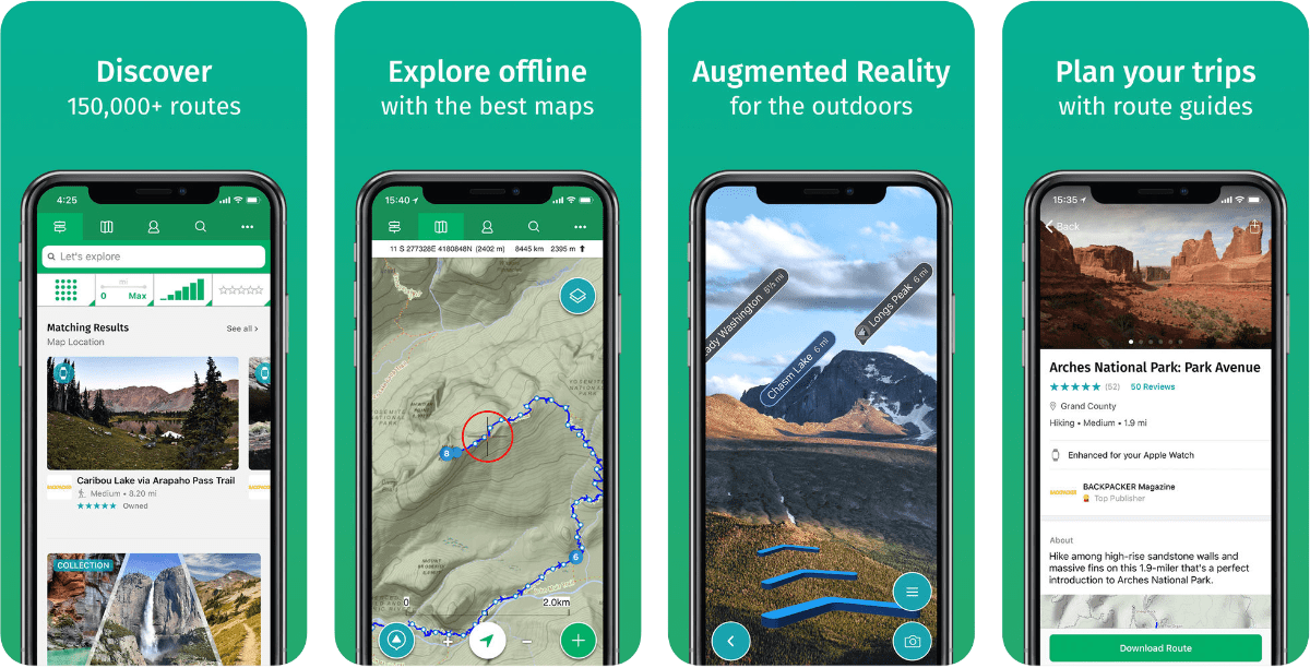 Screenshots of viewranger in our round-up of outdoor AR apps.