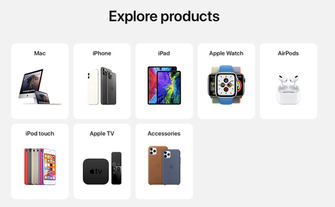 The new Explore Products section of the site will be familiar to users of the Apple Store iOS app