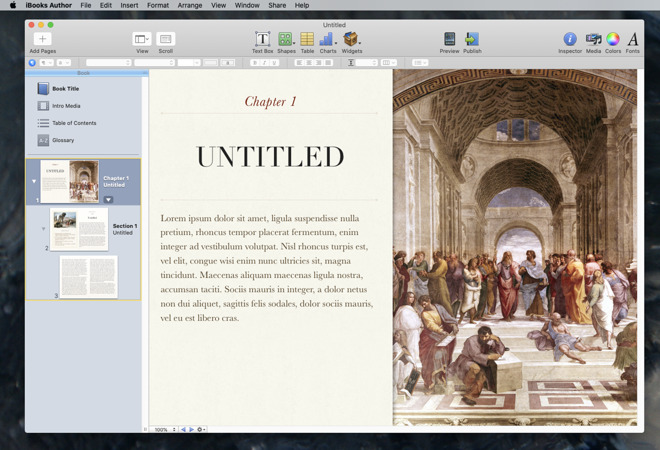 Here's what Apple's iBooks Author app looks like today - and what it looked like when it launched in 2012 as well.