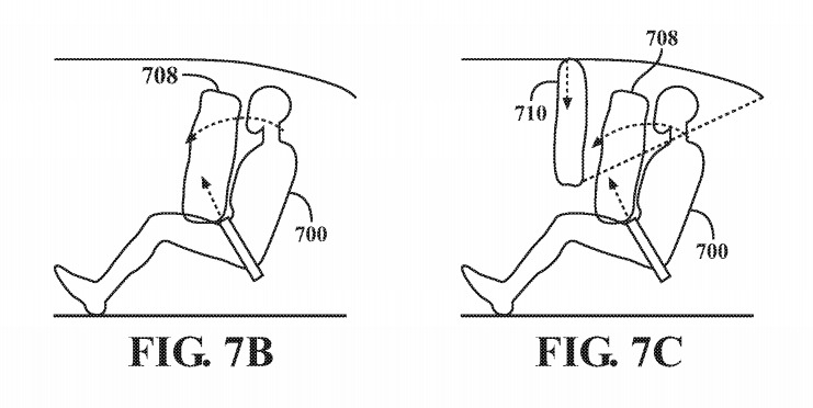 Examples of a seatbelt type airbag and a ceiling mounted airbag with an additional strap to restrict movement