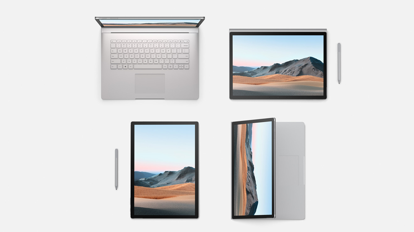 Surface Book 3 in an assortment of guidelines