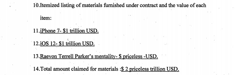 Parker's previous assessment of items claimed in the previous prosecution attempt.