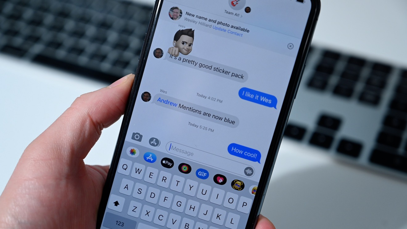 Message mentions are now blue in iOS 14 beta 2