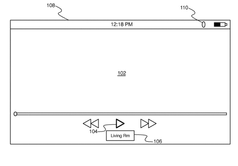 Detail from one of the patent applications showing familiar playback controls and an indication of where the video is played