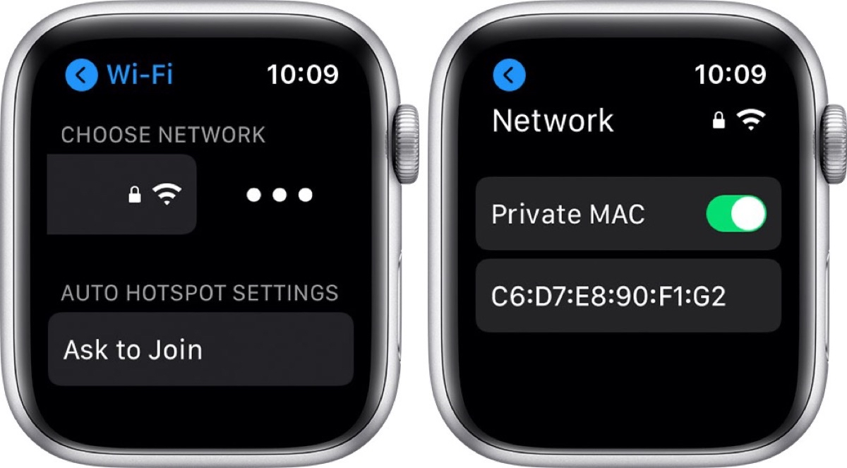 Screenshot showing how to enable watchOS 7 private MAC address