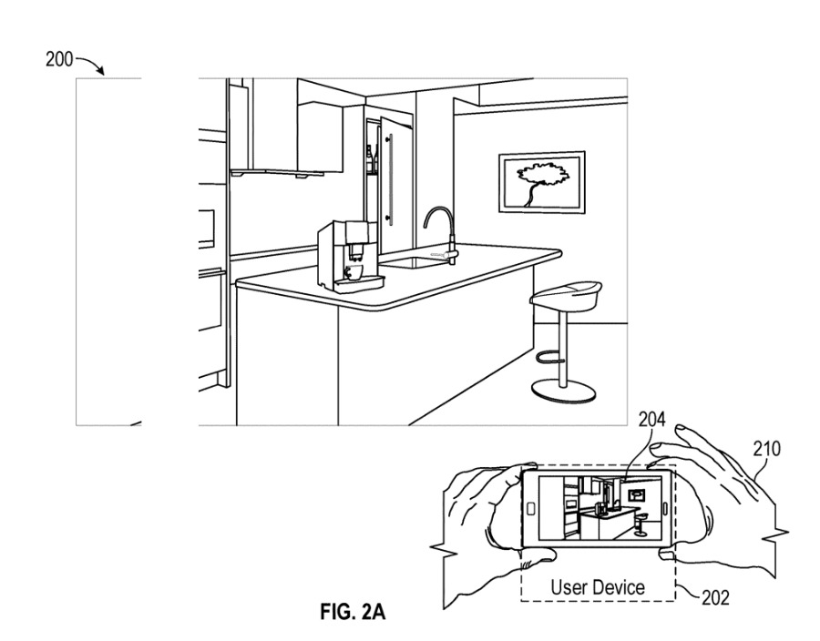 Detail of the patent application showing a real environment being mapped to allow the positioning of virtual objects