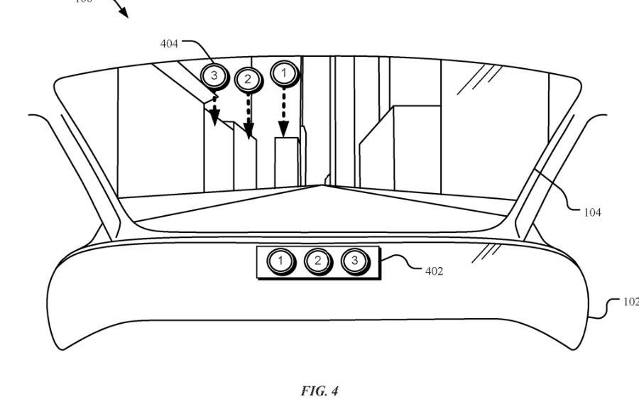 Detail of Apple's latest patent application for AR in the Apple Car windshield
