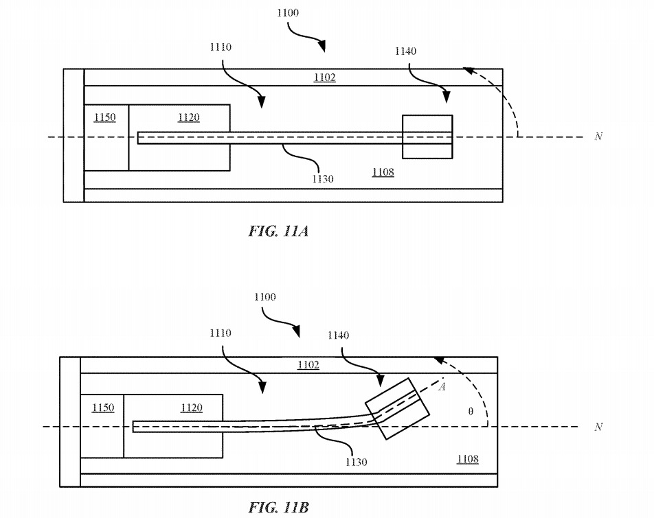 A piezoelectric beam and a weight can produce vibrations or changes in weight in an Apple Pencil.