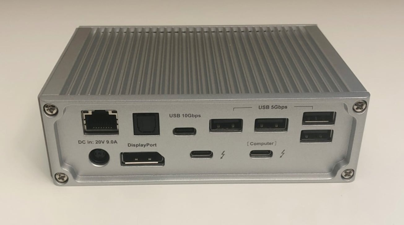 An example of the variety of ports you can find on a Thunderbolt 3 docking station