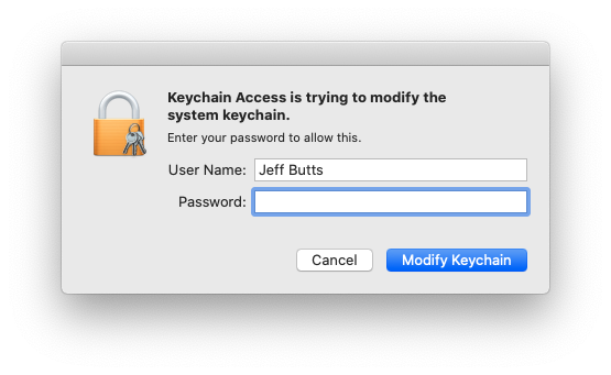 Changing keychain access requires administrative access