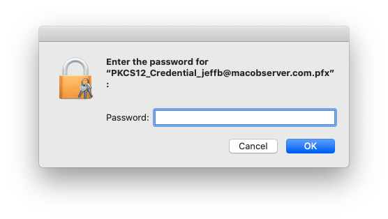 Provide the password for your S / MIME certificate