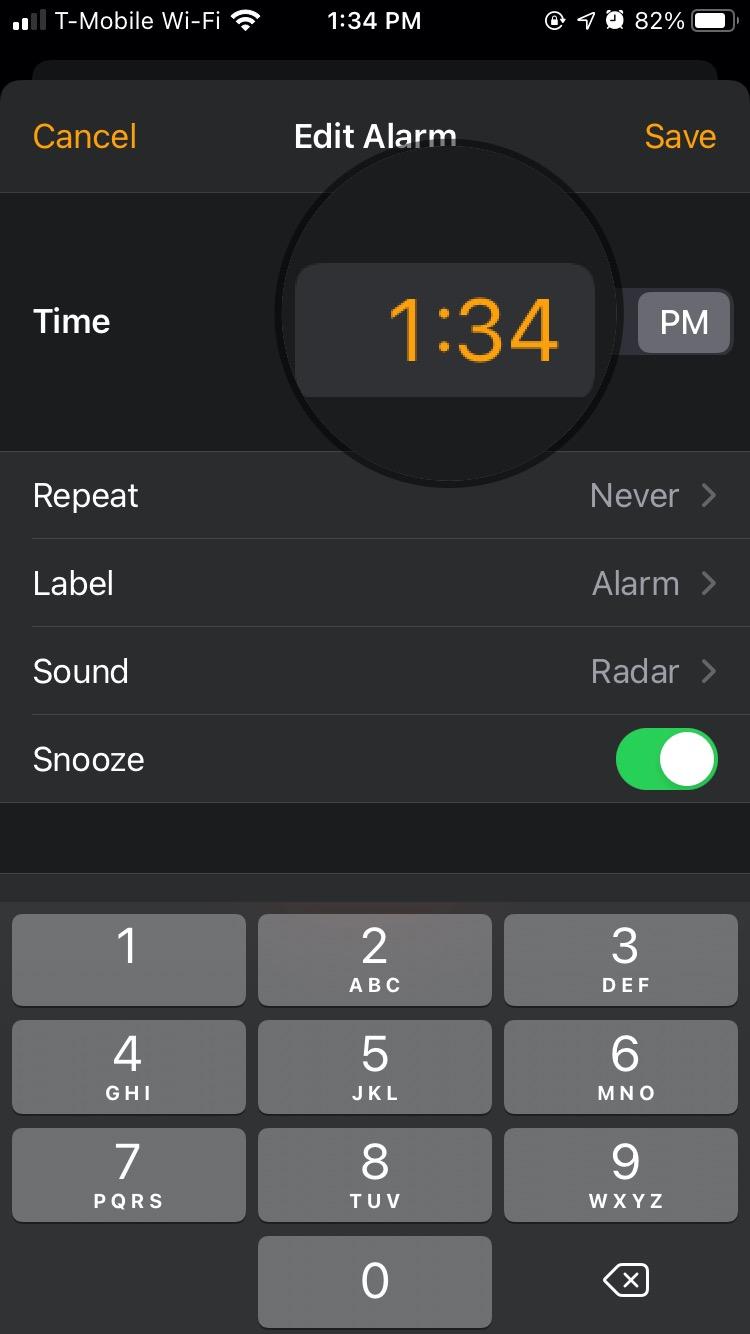 The new numeric keypad setting in iOS 14 clock