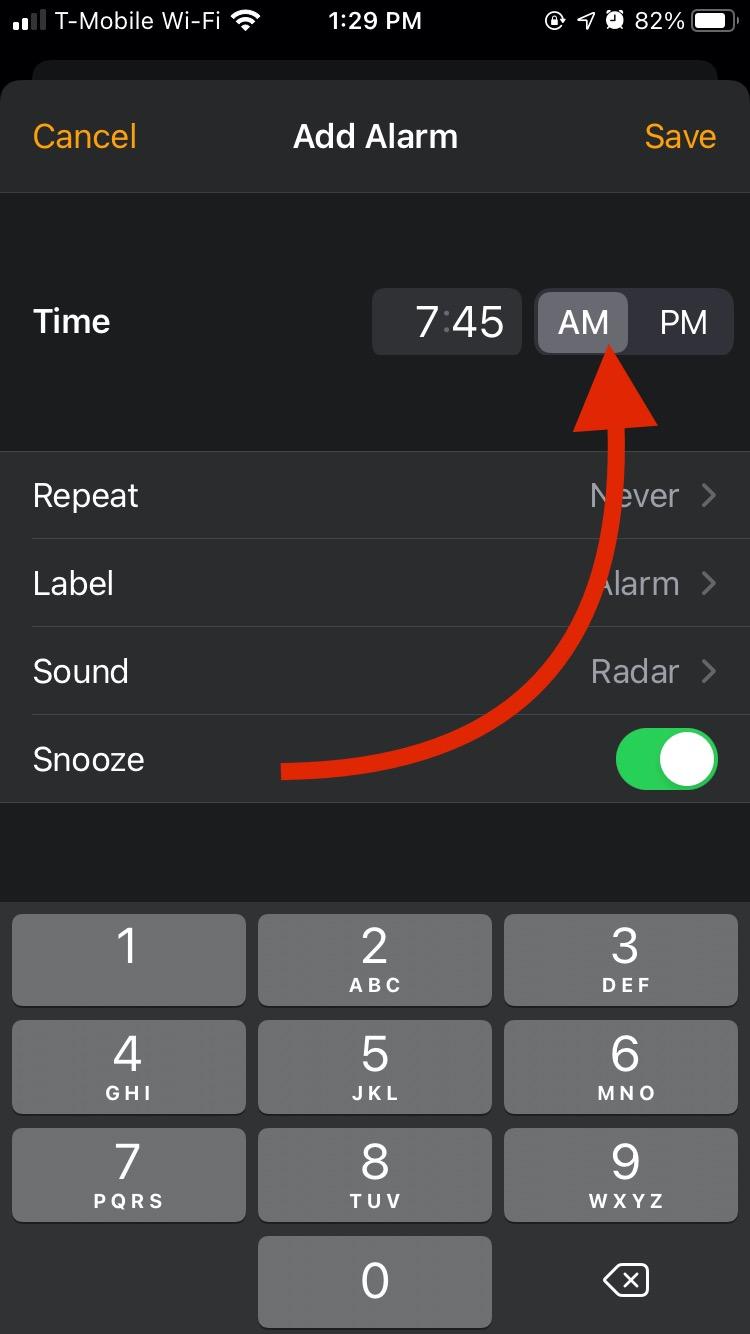 Set an alarm on iOS 14