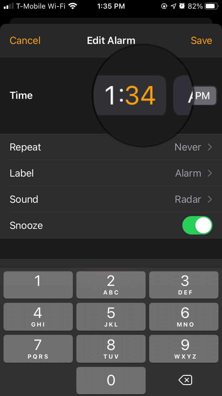 Selecting the numeric keypad in the Alarm tab of iOS 14 clock can be difficult