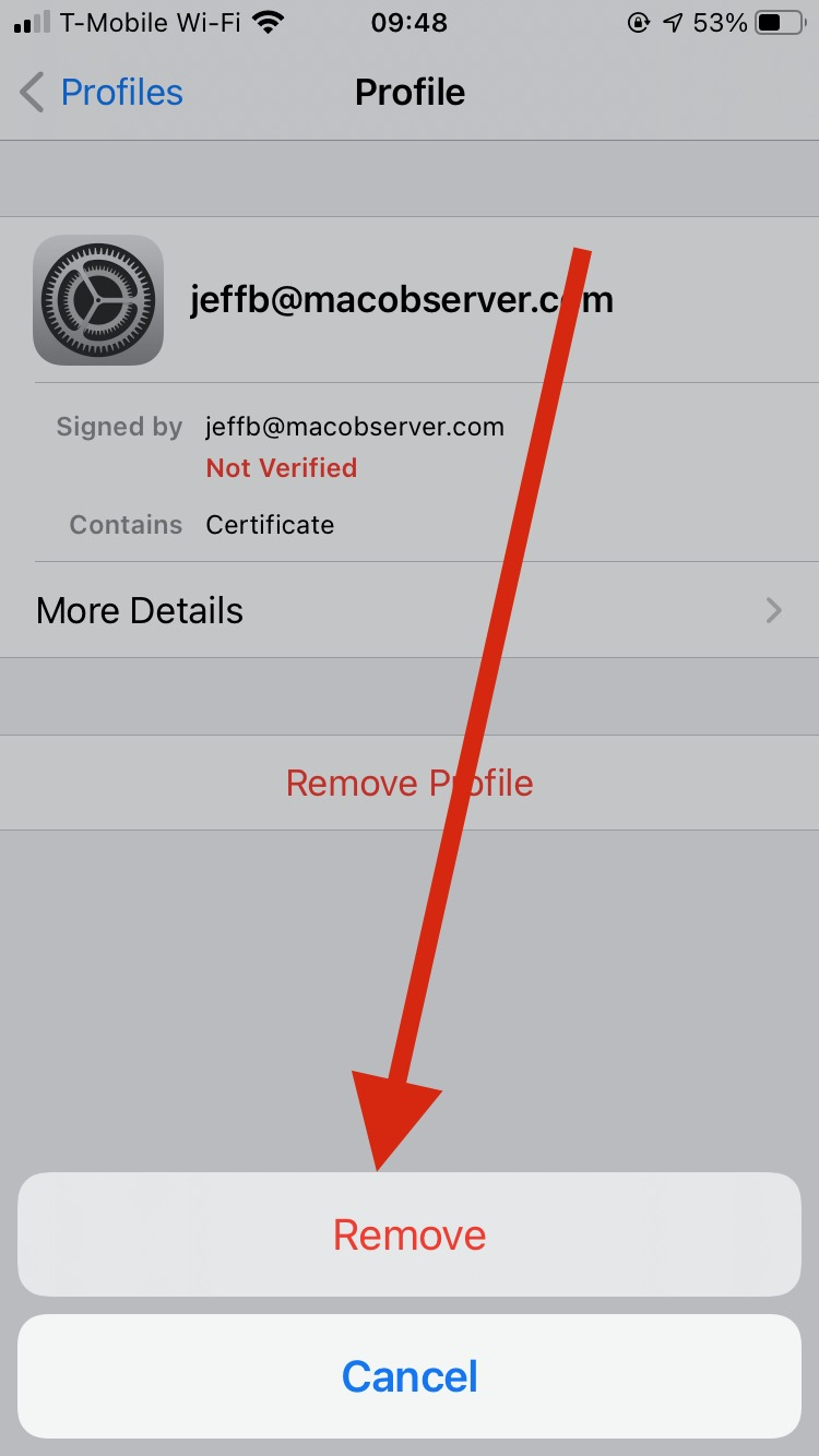 Tap Delete one last time to delete the profile - email encryption with iOS Mail