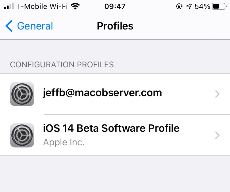 List of profiles in iOS - sending encrypted emails in iOS Mail