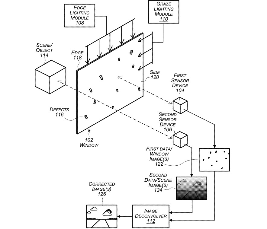 Several on-board imaging sensors and lighting modules could help detect cracks and window issues.