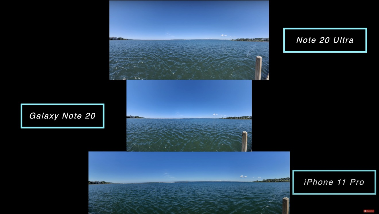 The panoramas taken with each camera give photos of different sizes
