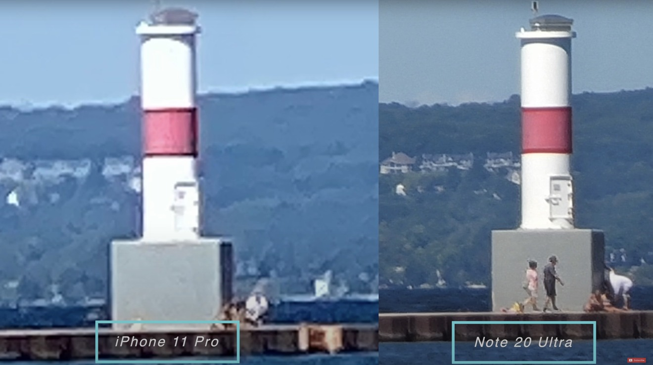 iPhone zoomed in to 50X compared to Note 20 Ultra at 50X is a no-brainer
