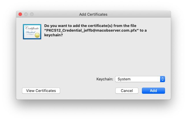 Installing an S / MIME certificate on macOS Catalina