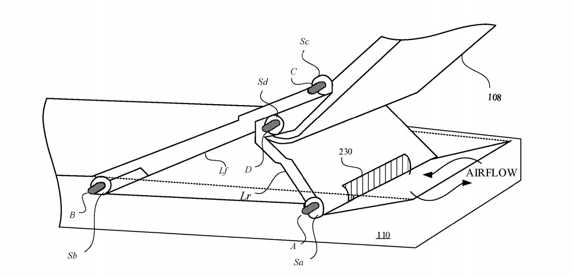 An example of a hinge design, which can help improve air circulation.